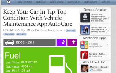 Review: Autocare at AppAdvice