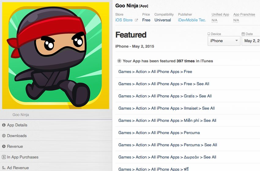 Goo Ninja is featured by Apple in 135 countries
