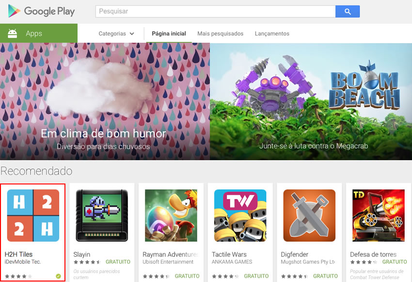 H2H featured on Play Store main page !!!